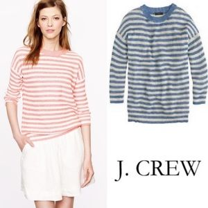 J.CREW Blue + Cream Striped Linen Crewneck Sweater